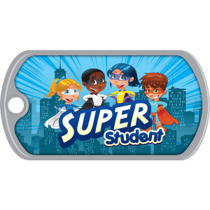 Metal Brag Tags - Super Student, City