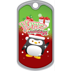 Metal Brag Tags - Happy Holidays