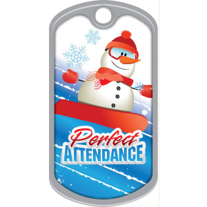 Metal Brag Tags - Perfect Attendance, Snowman