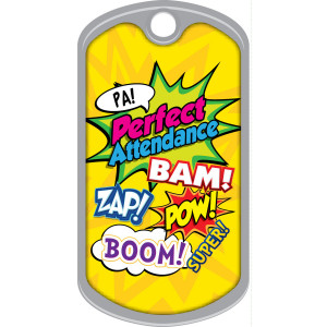 Metal Brag Tags - Perfect Attendance, Comic Book