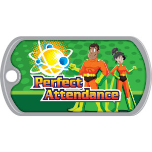 Metal Brag Tags - Perfect Attendance, Science Heroes