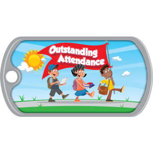 Metal Brag Tags - Outstanding Attendance, Students