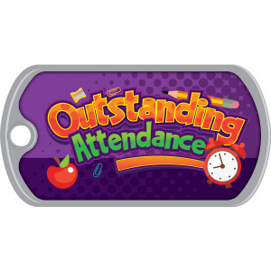 Metal Brag Tags - Outstanding Attendance, Supplies
