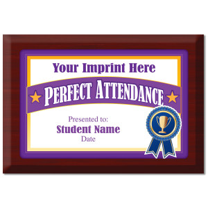 Custom Plate Plaque - Perfect Attendance