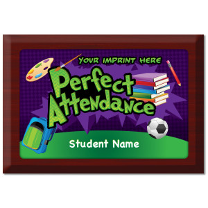 Custom Plate Plaque - Perfect Attendance 3