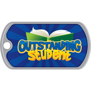 Metal Brag Tags - Outstanding Student, Blue