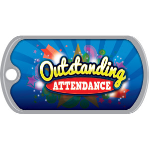Metal Brag Tags - Outstanding Attendance