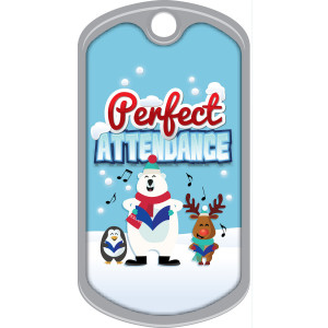 Metal Brag Tags - Perfect Attendance, Winter