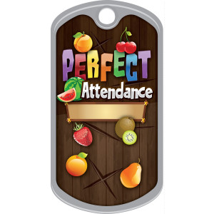 Metal Brag Tags - Perfect Attendance, Fruit
